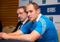 Head coach of Italy, Jacques Brunel with captain Sergio Parisse