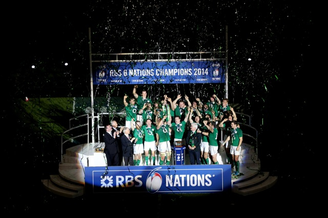 Podium shot of Ireland receiving 2014 RBS 6 Nations Trophy