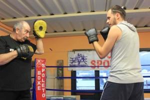 Mirko in allenamento col Maestro Burli.