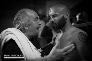 Gianni Burli e Giuseppe Grasso sul ring a Milano.