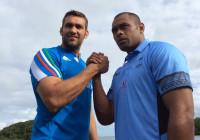 Il capitano dell'Italia Quintin Geldenhuys ed il capitano delle Figi Akapusi Qera alla vigilia del test-match di sabato all'ANZ Stadium di Suva. Foto: FIR.