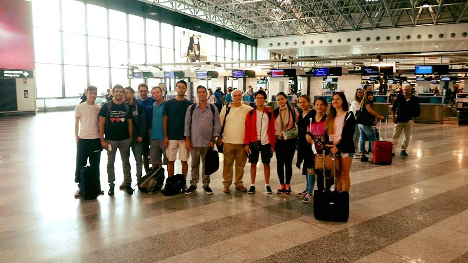 La delegazione italiana, per le Olimpiadi di Baku, in partenza all'aeroporto.